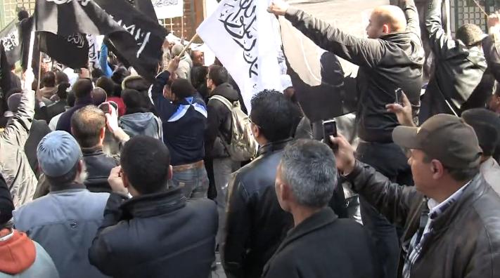 Manifestation antisémite des islamistes devant la Grande Synagogue de Tunis