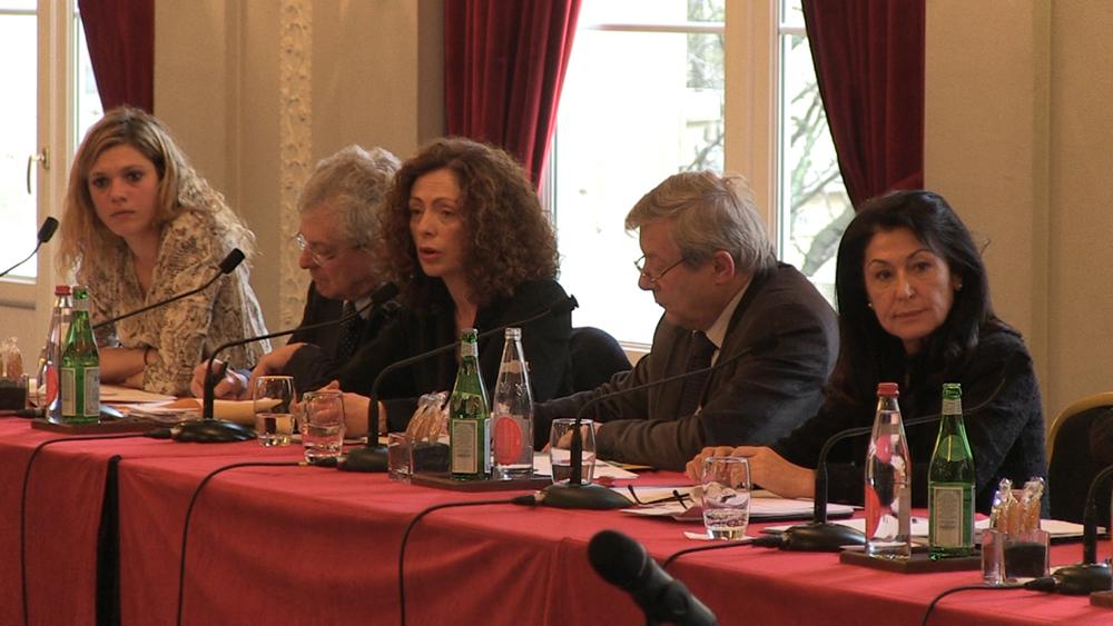 Kristell Jeannot, Eric Laurent, Corinne Rezki, Guy Briole, et Agnès Aflalo lors de la conférence au Lutétia le 3 mars 2012