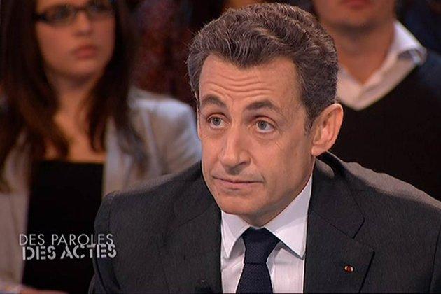"Nicolas Sarkozy lors de l'émission ""Des paroles et des actes"" le mardi 6 mars 2012"