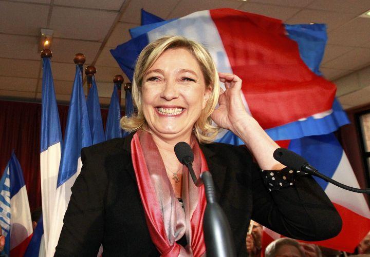 Marine Le Pen, lors de la déclaration officielle de sa candidature, hier à 16h à Hénin-Beaumont, dans le Pas-de-Calais.