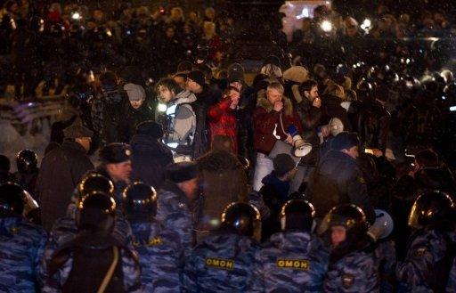 Manifestation des opposants russes, le 5 mars 2012 à Moscou