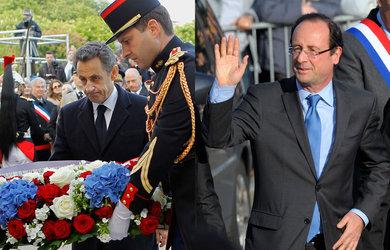 Nicolas Sarkozy et François Hollande assistent à la commémoration du génocide arménien, place du Canada à Paris.