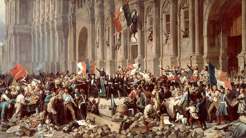 Les insurgés devant l'Hôtel de Ville de Paris