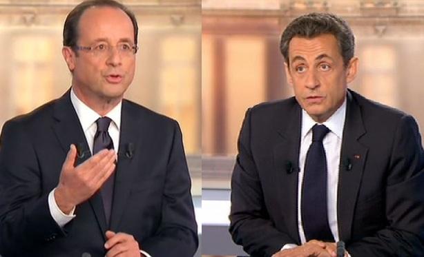 François Hollande et Nicolas Sarkozy pendant le débat, le 2 mai 2012.