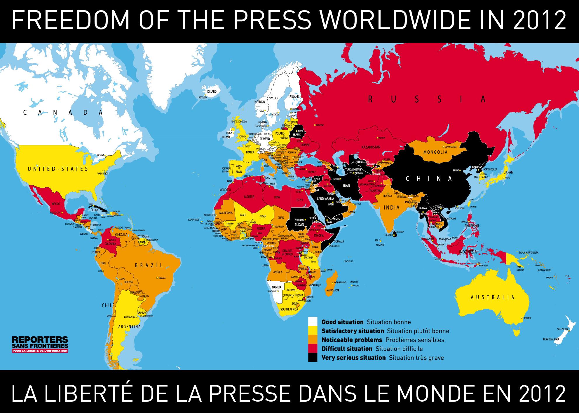 La liberté de la presse dans le monde en 2012
