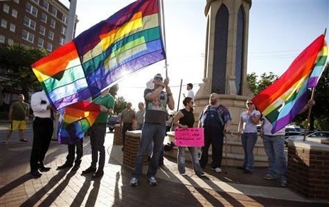 Manifestation d'homosexuels en soutien à Barack Obama, mercredi 9 mai à Dallas.