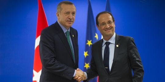 François Hollande et Recep Tayyip Erdogan au sommet de Rio.