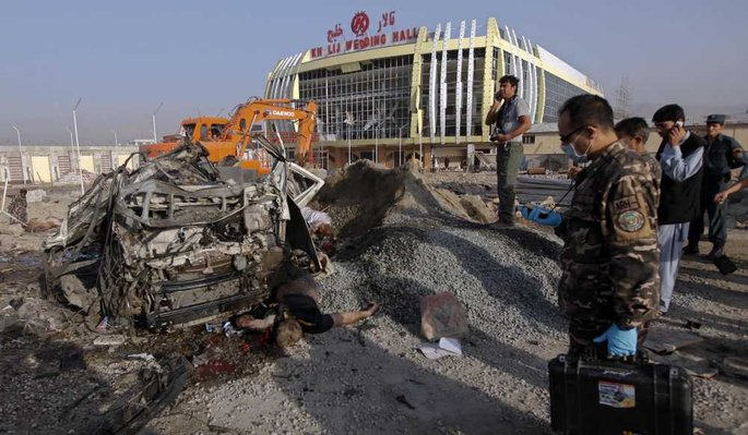 La scène de l'attentat de ce mardi matin à Kaboul.