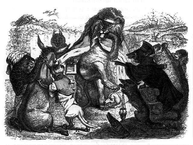 """""""Haro sur le baudet !, crie Robert Redeker"""", comme dans la fable de La Fontaine. Illustration des """"Animaux malades de la peste"""", par Grandville."""