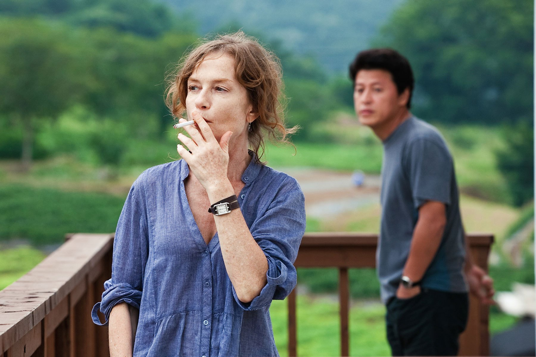 "Scène du film ""In another country"", de Hong Sang-soo, avec Isabelle Huppert"