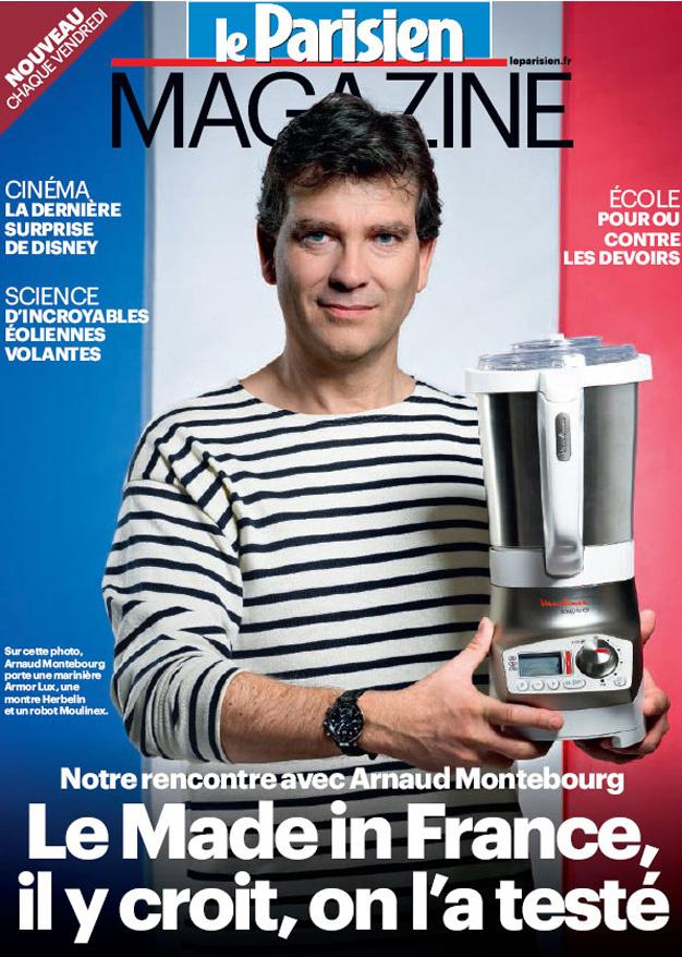 Arnaud Montebourg, sa marinière et son mixeur français en une du Parisien, paru le 19 octobre 2012.