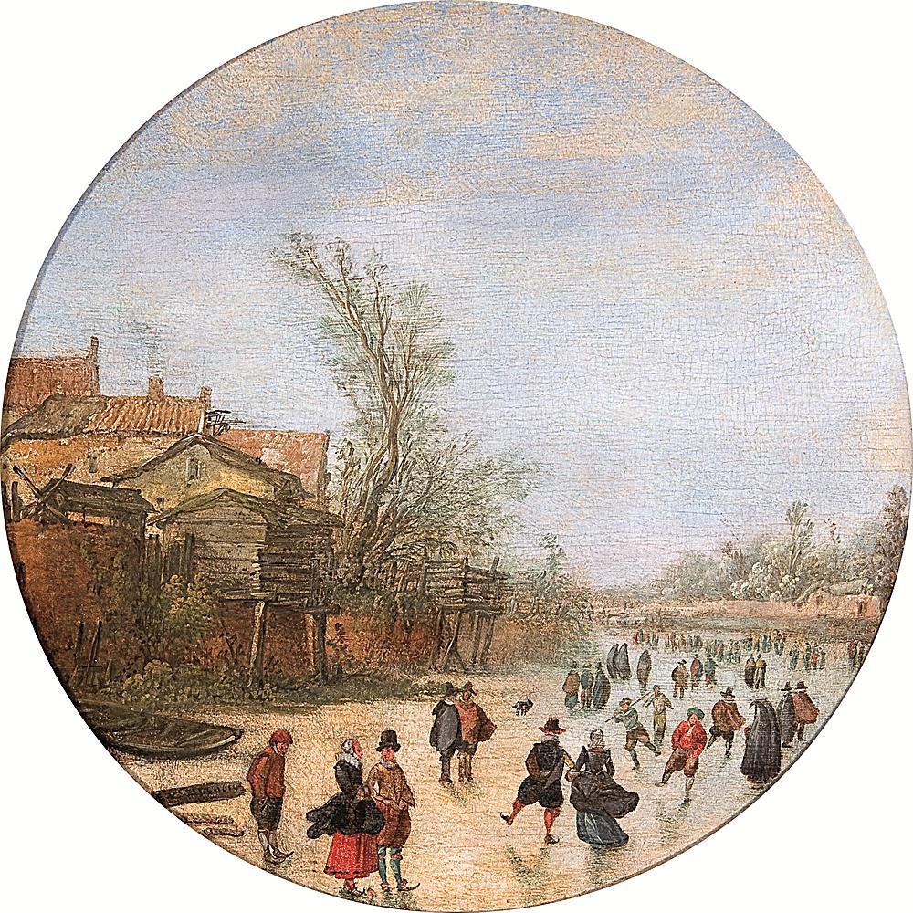 Esaias Van de Velde (1587-1630), Paysage d'hiver avec patineurs sur une rivière gelée, 1619, Koetser Gallery Ltd, Photo : Koetser Gallery Ltd.