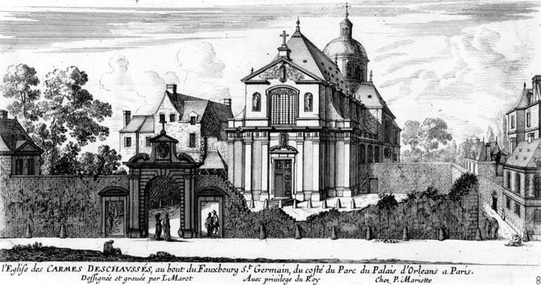 Jean Marot, L'église des Carmes Déchaussés, rue de Vaugirard, gravure du XVIIe siècle.