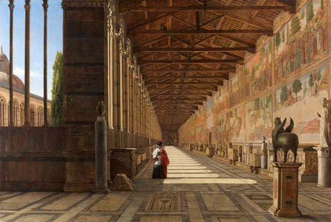 Antoine-Marie Perrot (1787-1850), Vue intérieure de la Galerie Nord du Camposanto de Pise, 1834, Galerie Haboldt & Co, Photo : Galerie Haboldt & Co.