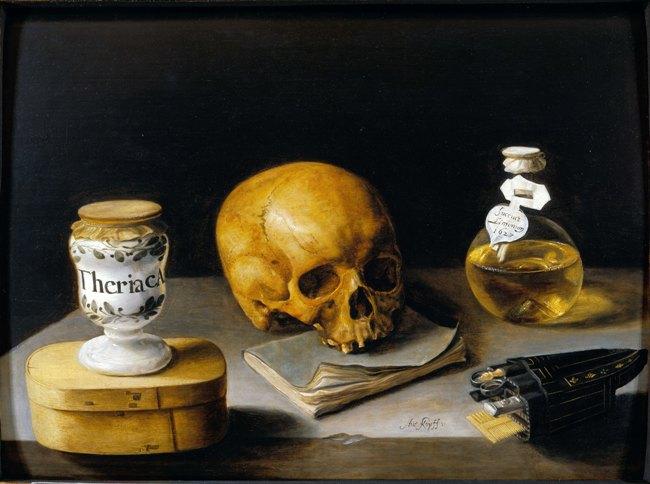 Sébastien Stoskopff (1597-1657), Vanité avec un vase de thériaque, 1627, Koetser Gallery Ltd, Photo : Koetser Gallery Ltd