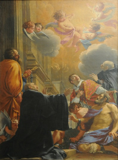 Simon Vouet (1590-1649), L'Adoration du nom divin par quatre saints, vers 1647 Paris, église Saint-Merry.