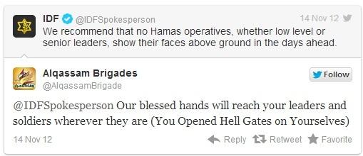 Tweetclash entre Hamas et Tsahal.