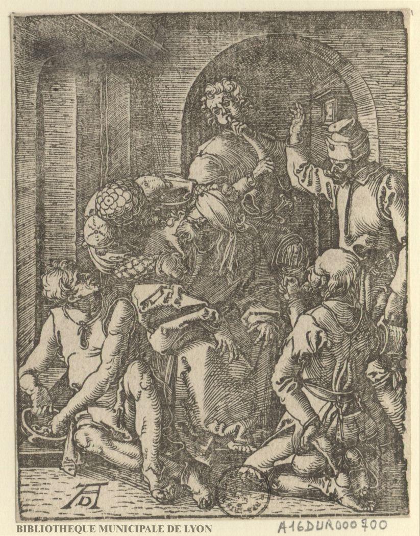 Jésus Christ insulté dans le prétoire Creator, par Albrecht Dürer, 1471-1528 (gravure), Bibliothèque municipale de Lyon