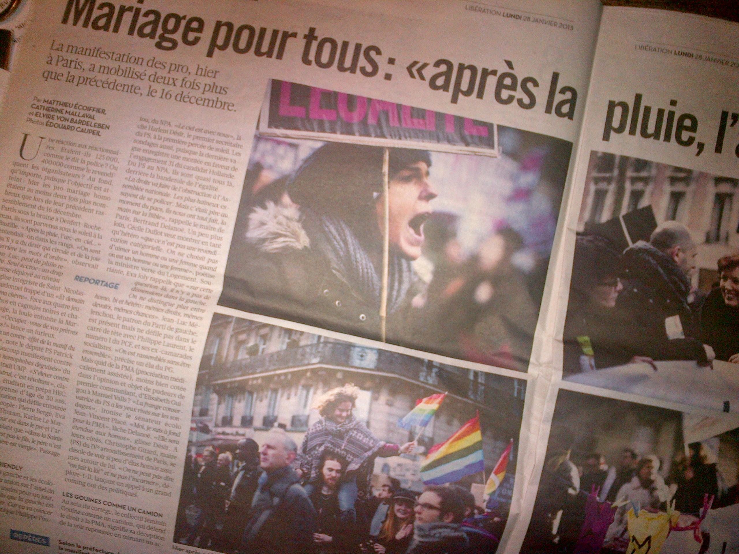 Article de Libération sur la manifestation pour le mariage pour tous, édition du lundi 28 janvier 2013.