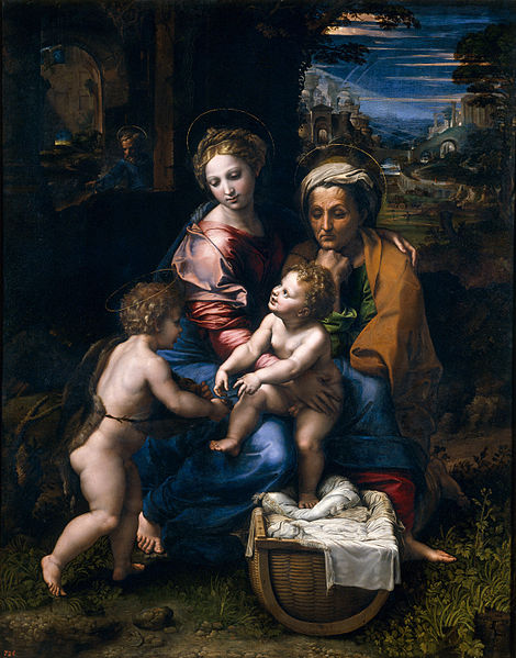 La Sainte Famille, dite La Perla, 1518-1520, huile sur bois, 147,4 cm × 116 cm, Madrid, musée du Prado.