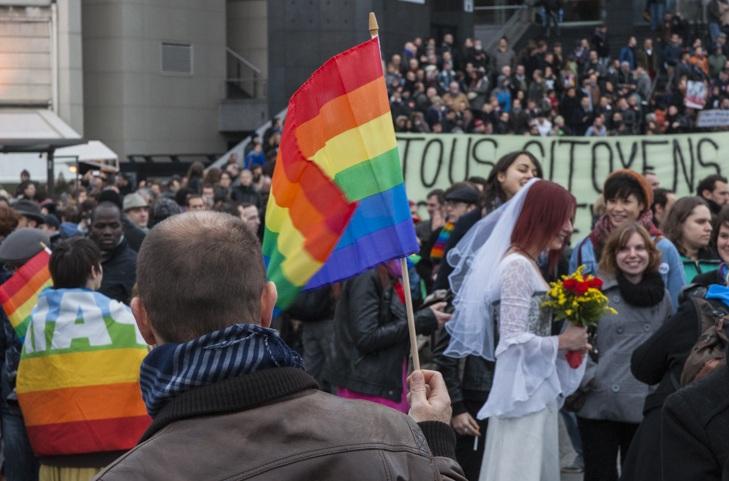 Manifestation pour le mariage gay, le samedi 15 décembre 2012, place de la Bastille. © Yann Revol
