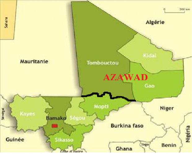 La situation au Mali avant l'intervention française.