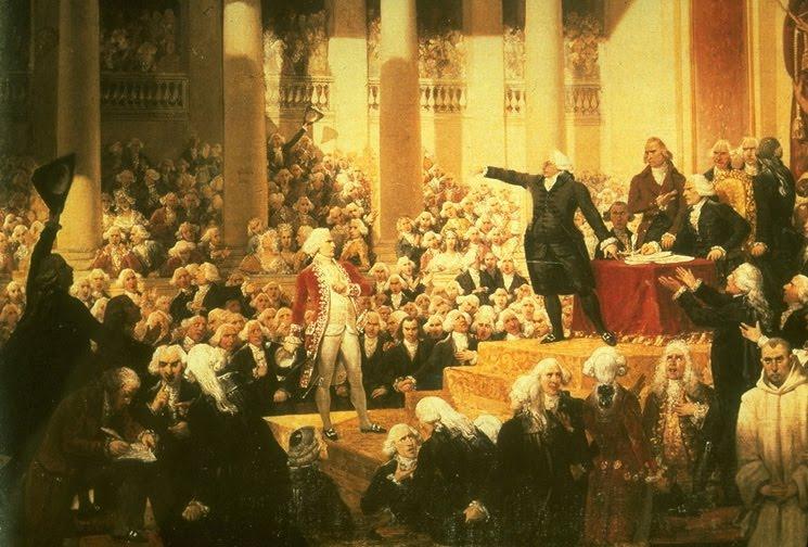 """Sous la Révolution française, le débat quant à la définition du mariage civil tourne court. ("""" Mirabeau apostrophant Henri Evrardde Dreux-Brézé """" par Joseph Désiré Court)"""