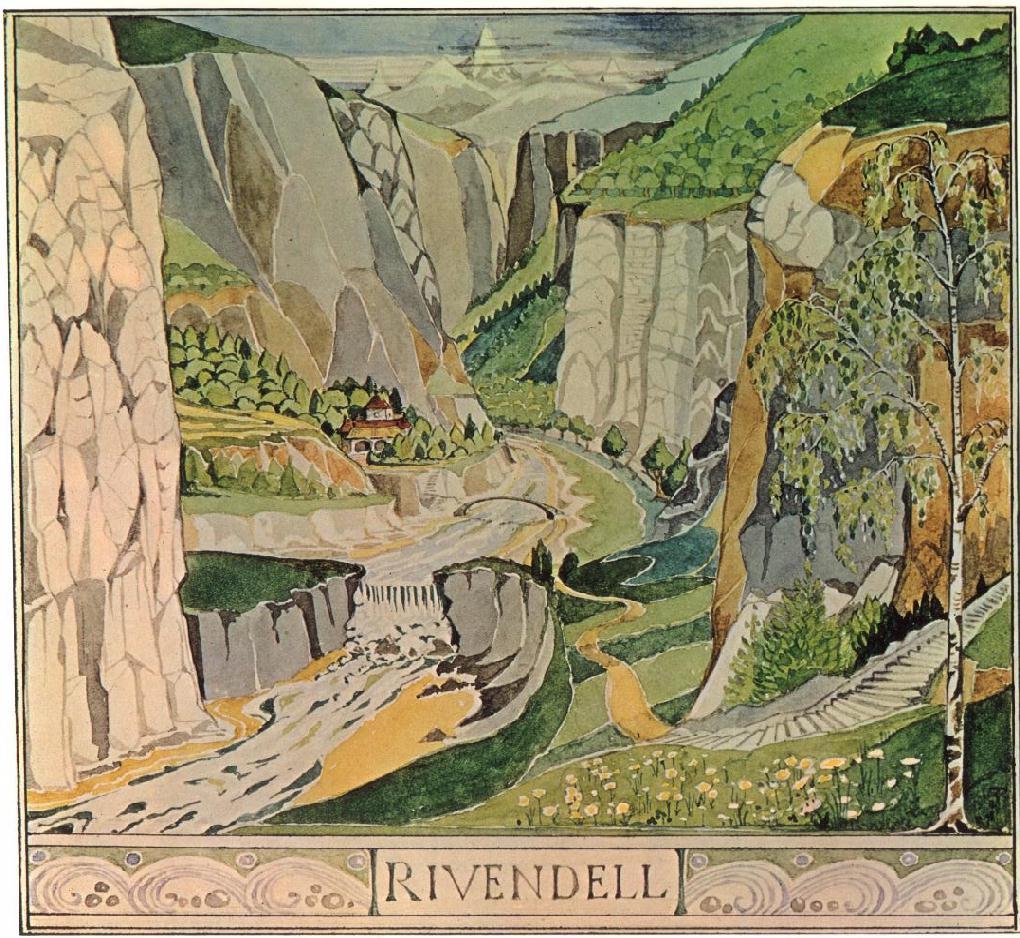 Illustration de Tolkien pour Rivendell, la vallée elfique.