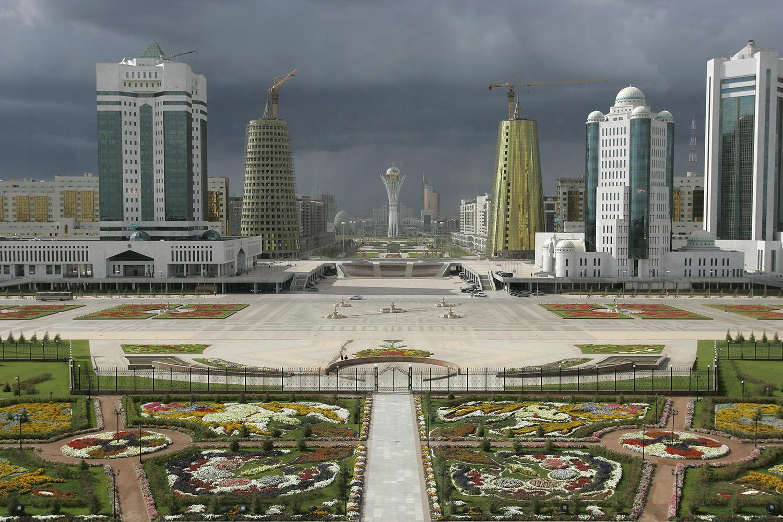 La nouvelle capitale Astana, vue du Palais présidentiel de Nursultan Nazarbayev.