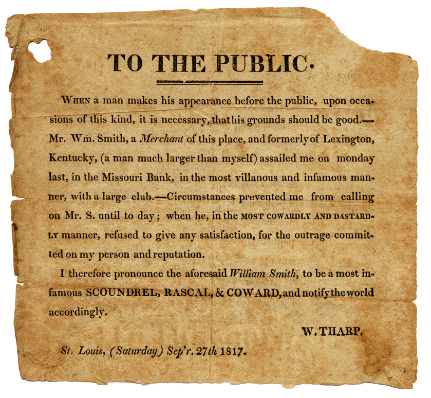 SMith Tharp Dueling notice, 1817 -- Crack of the Pistol: Dueling