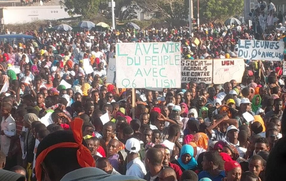 Un rassemblement de l'opposition, pendant la campagne pour les élections législatives à Djibouti.