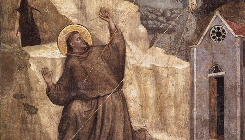 Saint-François d'Assise, recevant les stigmates du Christ. Par Giotto