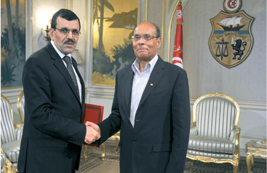 Le président tunisien Moncef Marzouki (à droite) avec le Premier ministre Ali Larayedh.