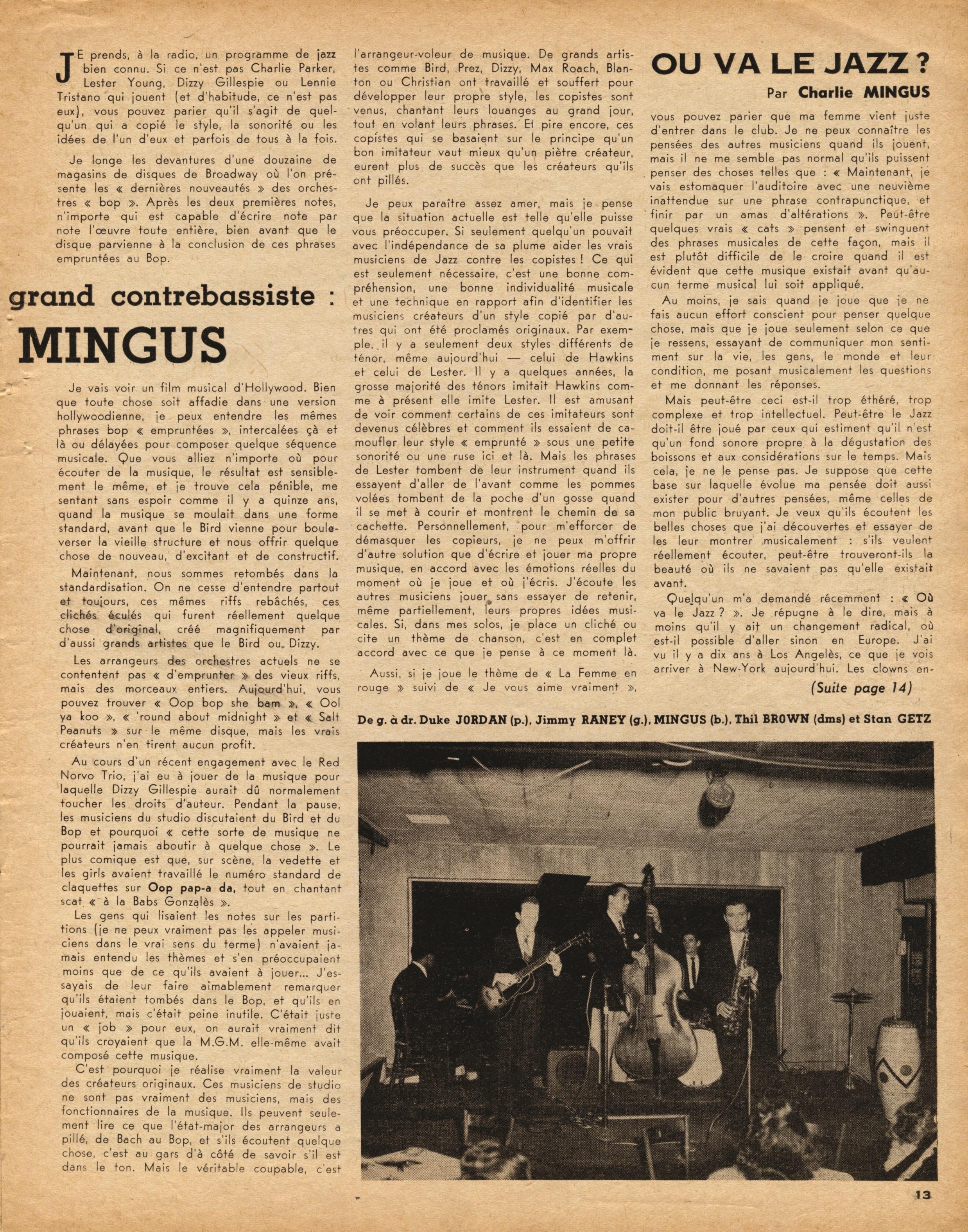 Première biographie écrite sur Charlie Mingus dans Jazz Hot par Marcel Fleiss.