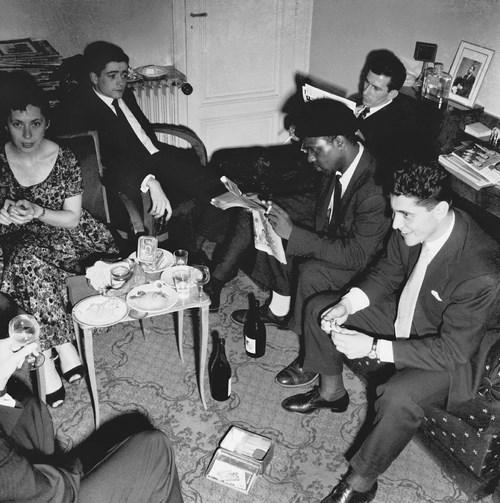 Ny Renaud, Jean-Marie Ingrand, Frank Isola, Thelonious Monk et Sacha Distel chez Marcel Fleiss, 1954