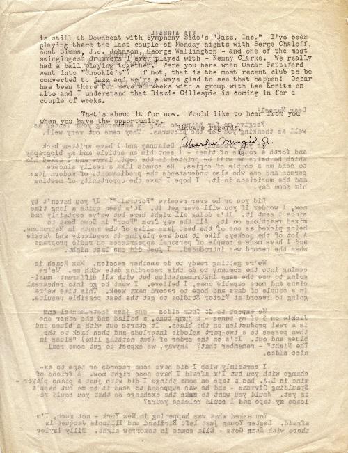 Lettre de Charles Mingus à Marcel Fleiss.