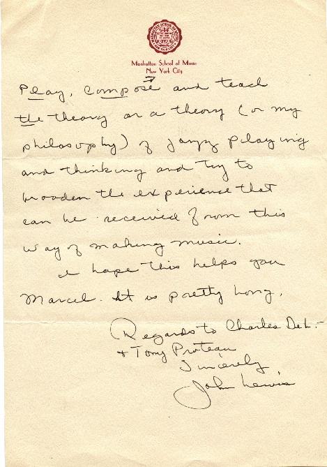 Lettre de John Lewis à Marcel Fleiss.