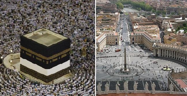 A gauche, la place St Pierre au Vatican. A droite, la Mecque.