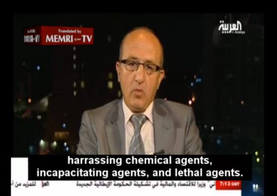 Capture de l'interview du brigadier-général Zaher Al-Saket, ancien chef de la guerre chimique de la 5e division, diffusée sur Al-Arabiya.
