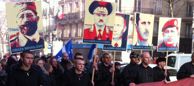 """Manifestation du groupe d'extrême droite """"Troisième voie"""" contre tous les impérialismes, en février 2013"""