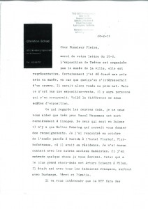 Christian Schad, Correspondance du 28/02/71