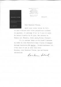 Christian Schad, Correspondance du 30/05/71