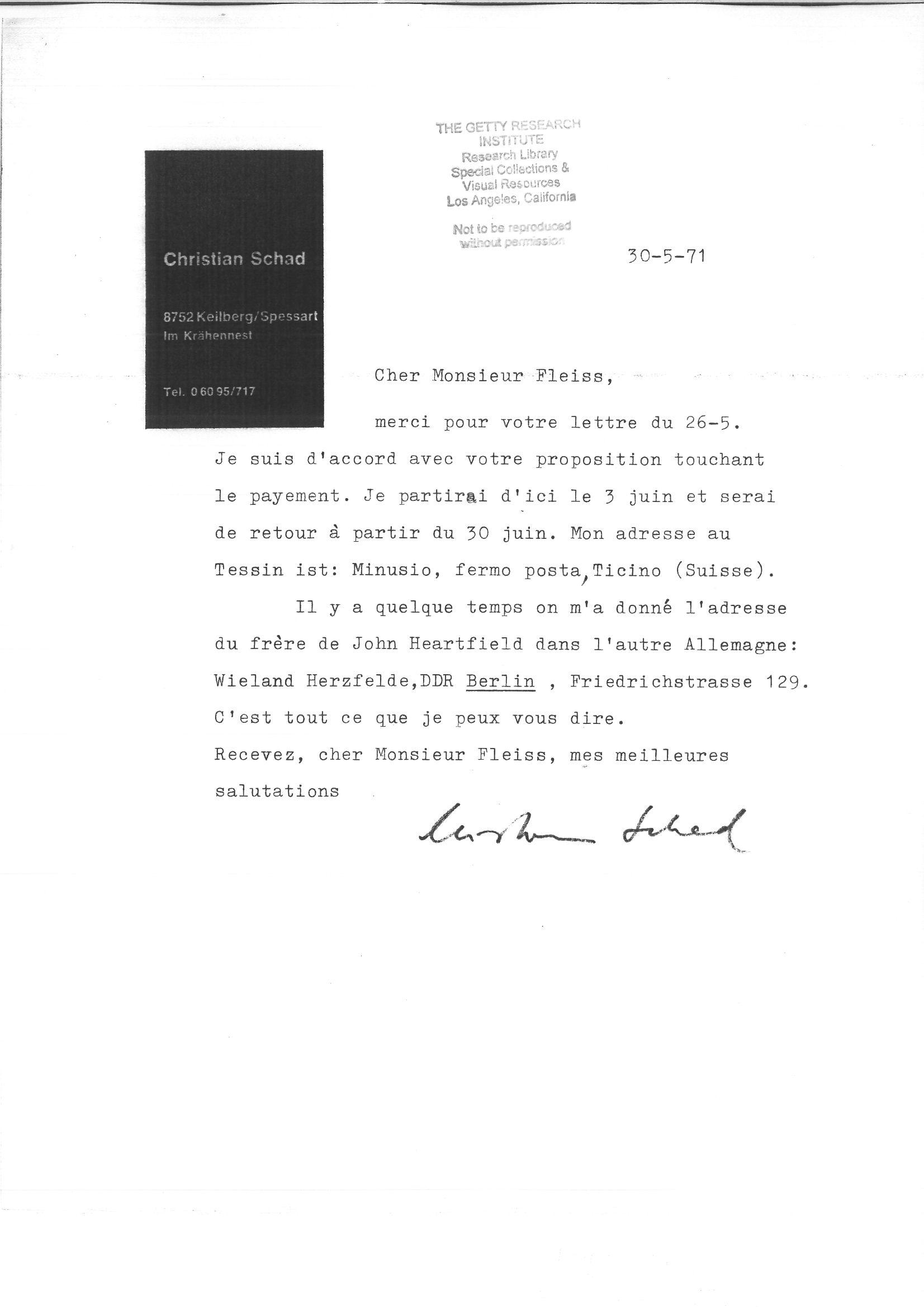 1-4-Christian-Schad-Correspondance-du-30-5-71