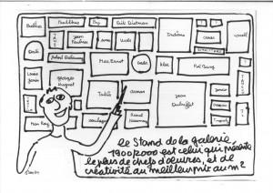 Dessin du stand de la Galerie 1900-2000, par Ben, 1994