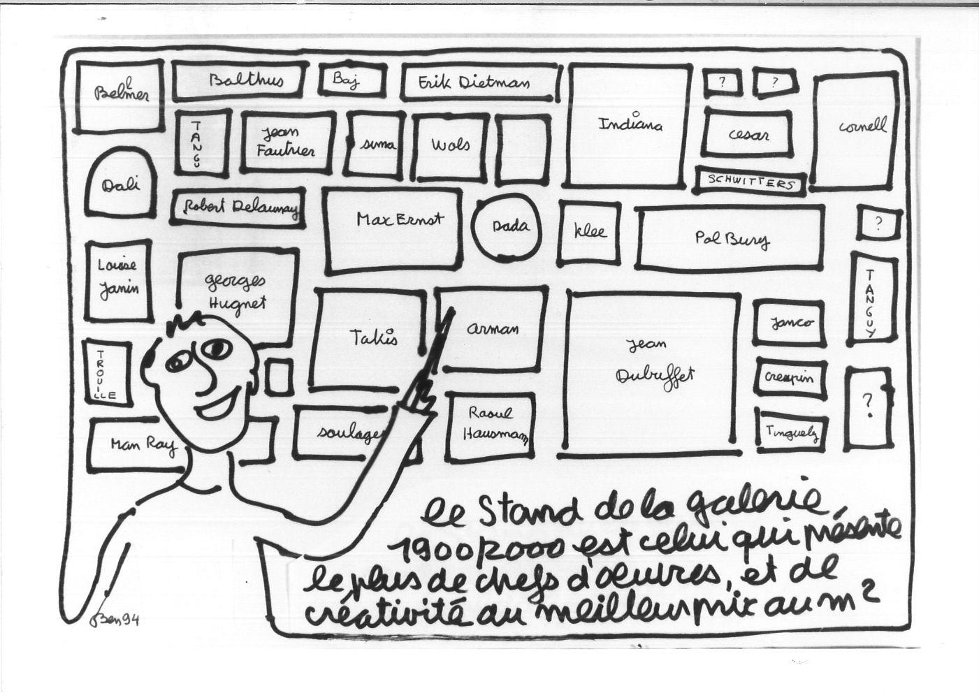 10-2-Dessin-du-stand-de-la-Galerie-1900-2000-par-Ben-1994