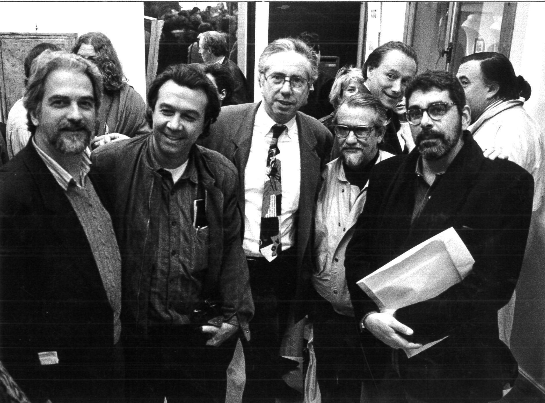 12-2-Claudio-Tozzi-Rubem-Gerchman-Marcel-Fleiss-Antonio-Henrique-do-Amaral-Angelo-de-Aquio-lors-du-vernissage-de-l-exposition-Sao-Paulo-Rio-Paris-en-1988