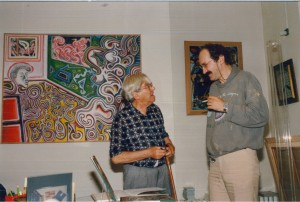 Roberto Matta lors du vernissage de l'exposition de Jean-Jacques Lebel en 1988, photo N Goldberg