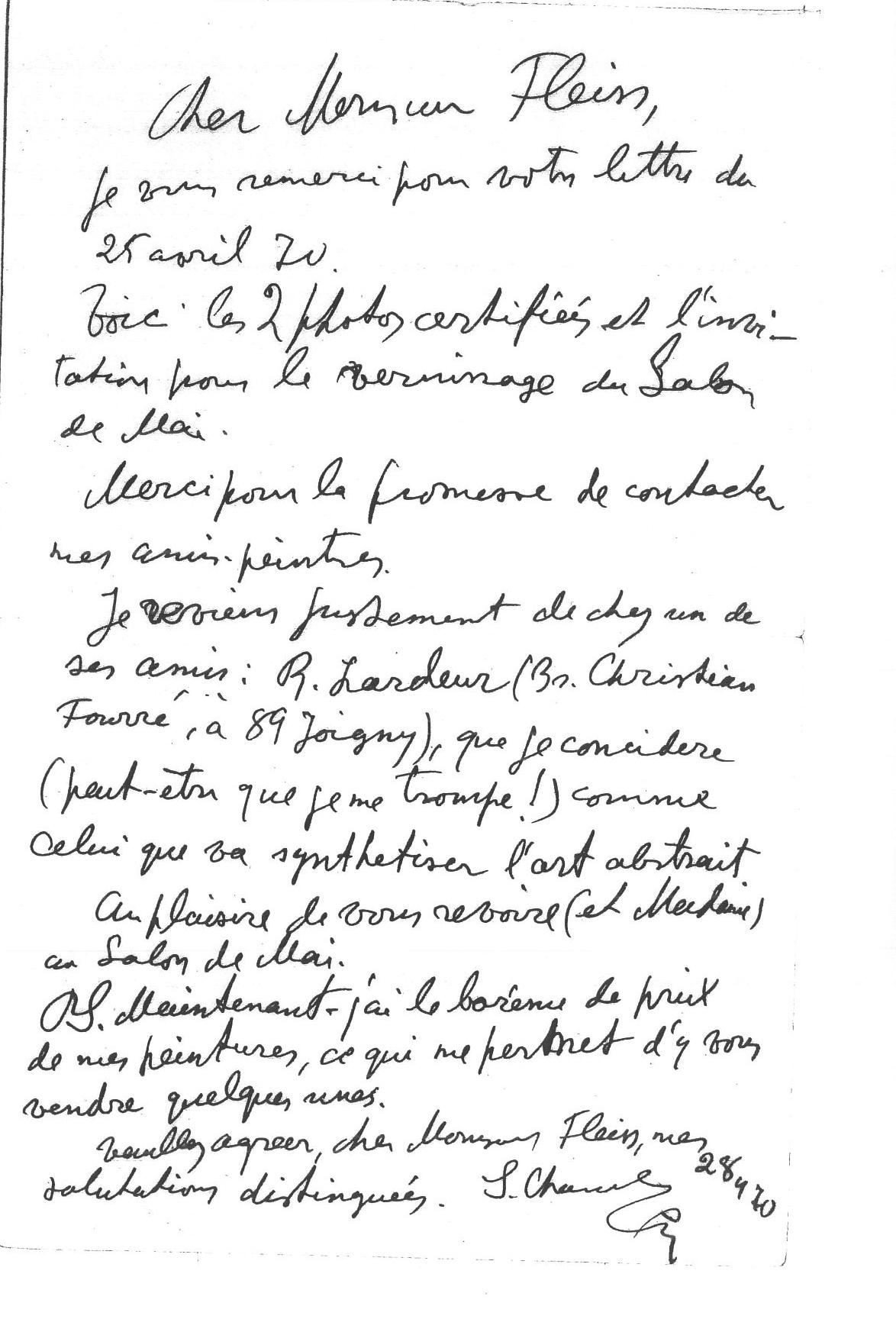 2-Serge Charchoune-Correspondance-du-28-4-70
