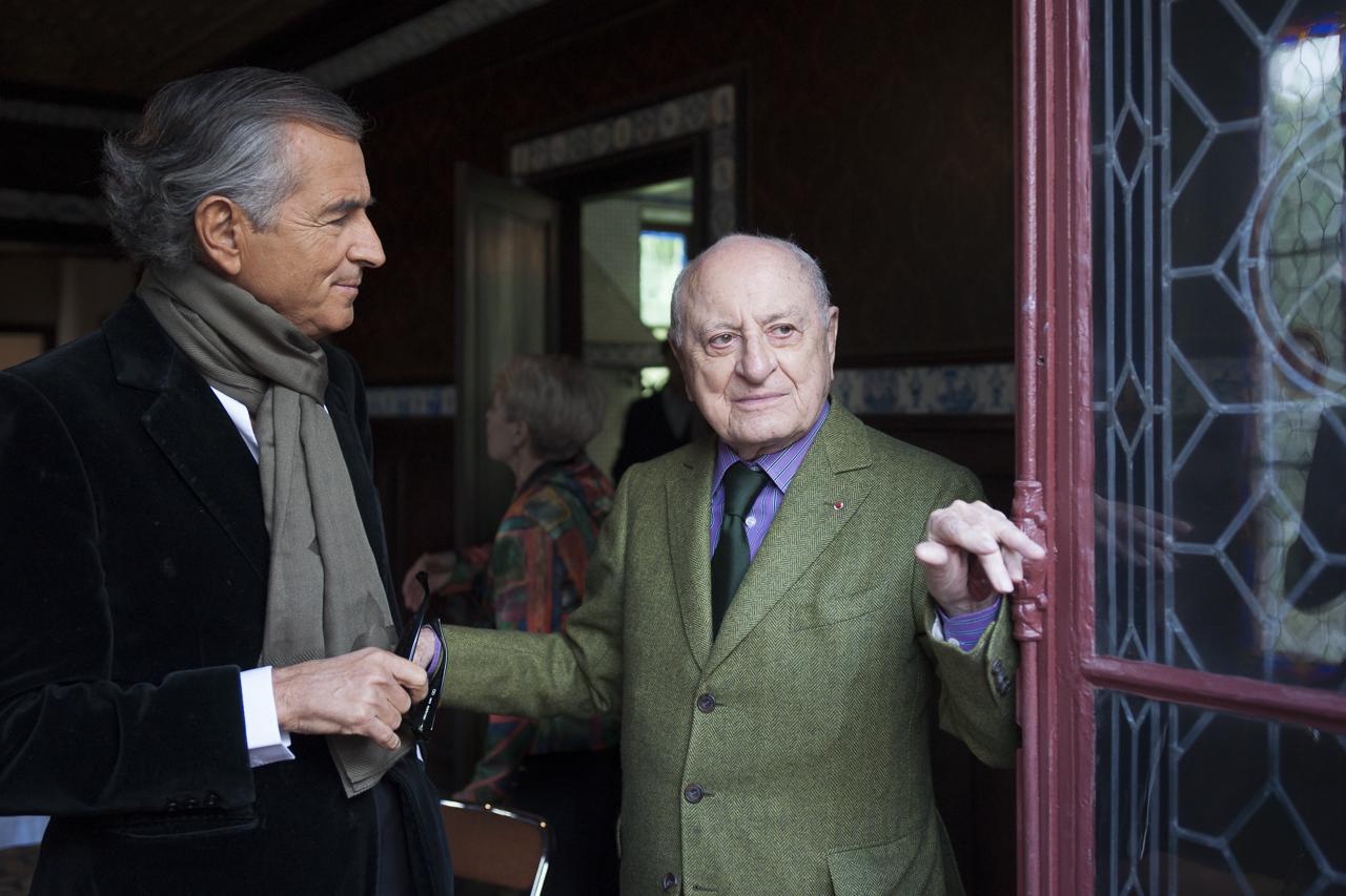 Bernard-Henri Lévy et Pierre Bergé en octobre 2013. Photo : Yann Revol.