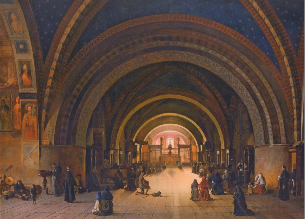François-Marius Granet, Intérieur de l'église basse d'Assise (1823), huile sur toile, 199,5 x 274 cm, Paris, musée du Louvre.